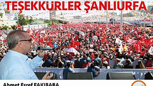 Bakan Fakıbaba'dan Şanlıurfa halkına teşekkür
