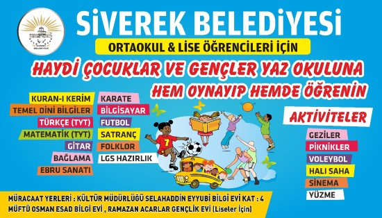 Siverek Belediyesi yaz okulu kayıtları başladı.