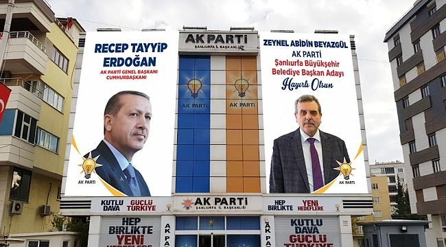 AK Parti binasına Erdoğan ve Beyazgül posteri