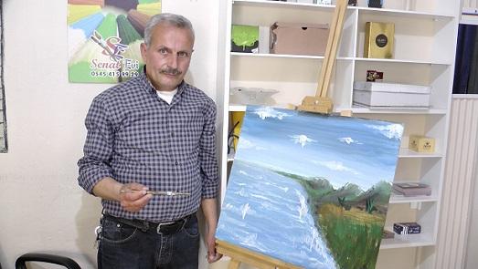 Suriye'de çizdiği resimler Türkiye'de gelir kapısı oldu