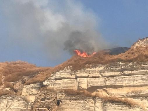 Tarihi kalede yangın çıktı