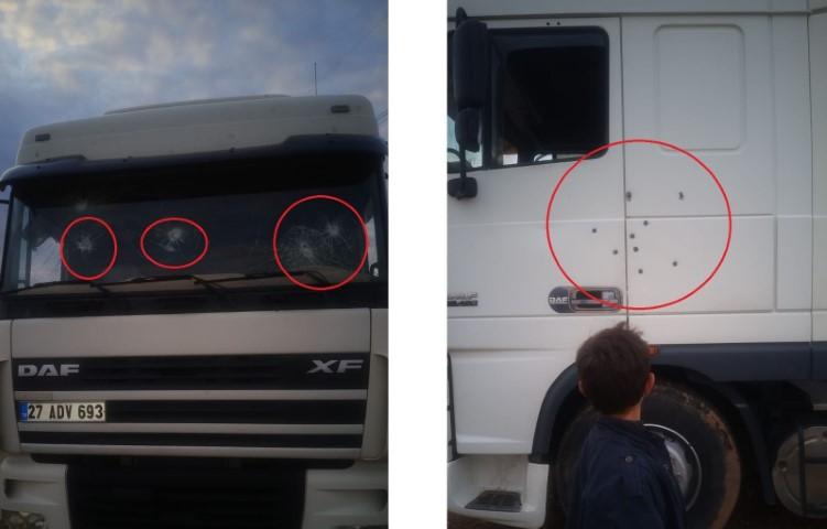Yolda ilerleyen tır şoförü silahlı saldırıya uğradı