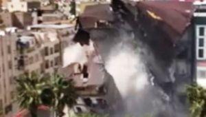 Binanın yıkılma anı korkuttu